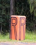 Orange Refrigerator Mailbox marks the entry to Rossmount Rural Retreat at Gympie.